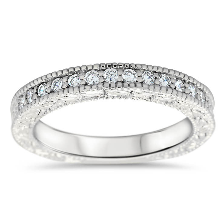 Vintage Inspired Diamond Wedding Band - Founded Band - Moissanite Rings