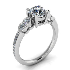 Bezel Set Accent Stone Engagement Ring - Quito - Moissanite Rings