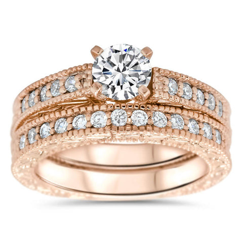 Vintage Inspired Weddign Set Engagement Ring and Wedding Band - Founded Wedding Set - Moissanite Rings