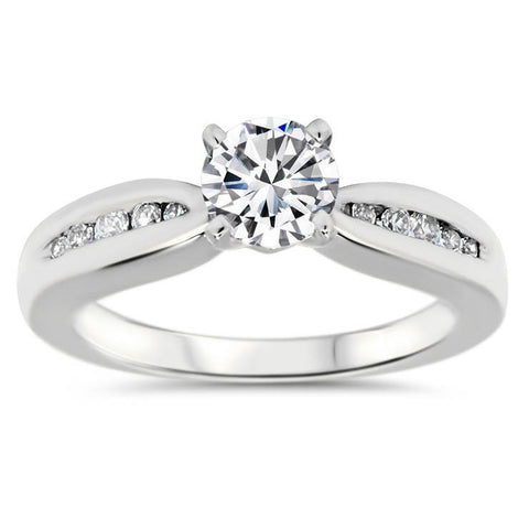 Tapered Channel Set Band Engagement Ring - Jackie - Moissanite Rings