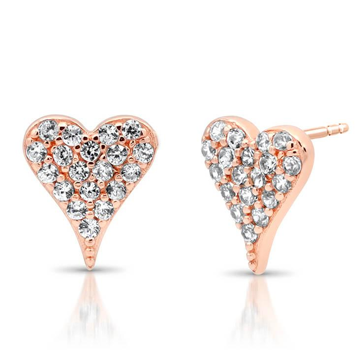 Diamond Pave Heart Studs