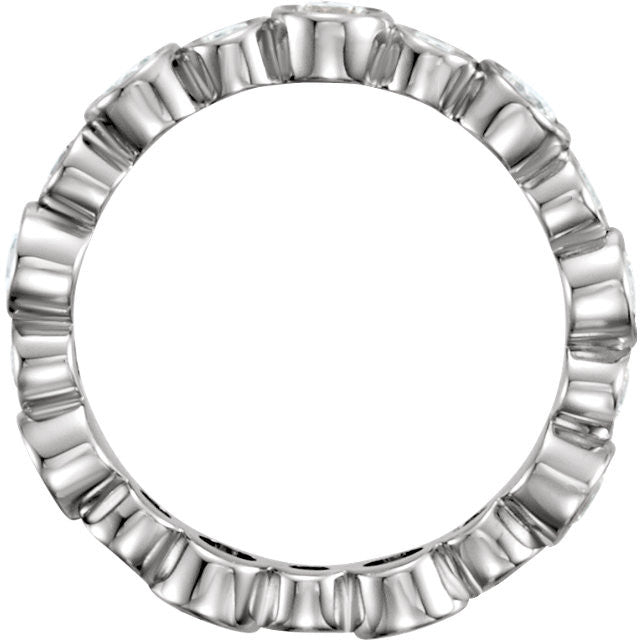 1.5 Ct. Bezel Set Diamond Eternity Band - Moissanite Rings