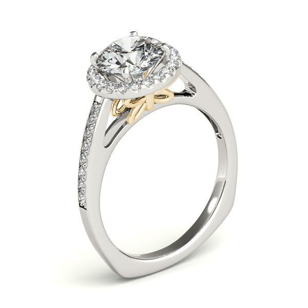 Butterfly Accented Diamond Halo Engagement Ring - Farfalla - Moissanite Rings