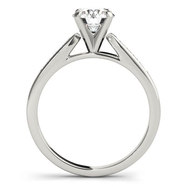 Channel Set Diamond Engagement Ring Moissanite Center - Chloe - Moissanite Rings