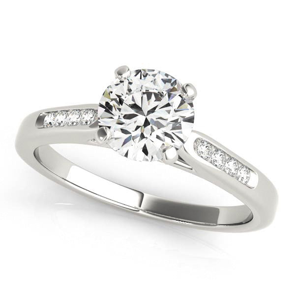 Channel Set Diamond Wedding Set Moissanite Center - Chloe - Moissanite Rings