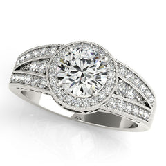 Diamond Halo Engagement Ring - Carrie - Moissanite Rings