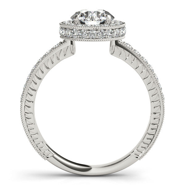 Diamond Halo Wedding Set Forever One Moissanite Center - Finn - Moissanite Rings