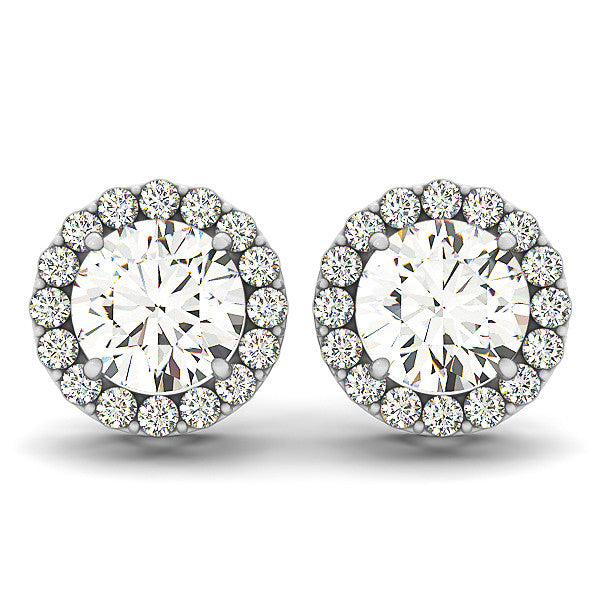 Diamond Halo Moissanite Stud Earrings - Moissanite Rings