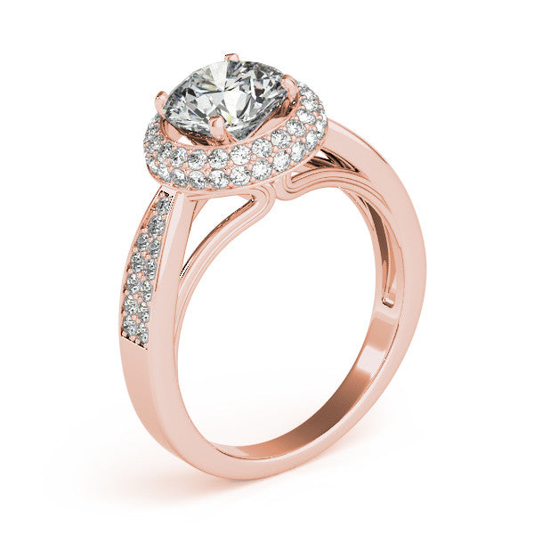 Diamond Pave Halo Engagement Ring - Raquel - Moissanite Rings