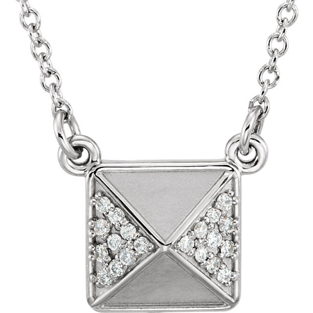 Diamond Pyramid Stud Pendant - Moissanite Rings