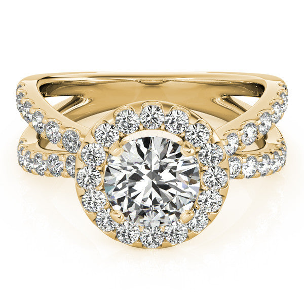 Diamond Split Shank Halo Engagement Ring - Gabrielle - Moissanite Rings