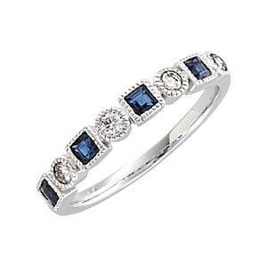 Diamond and Blue Sapphire Eternity Band - Sissi - Moissanite Rings