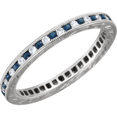 White Gold Diamond and Sapphire Eternity Band - Gabriela - Moissanite Rings
