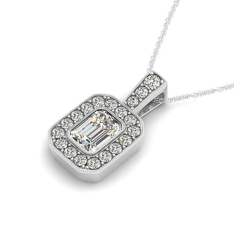 Emerald Cut Moissanite Pendant Diamond Halo - Moissanite Rings