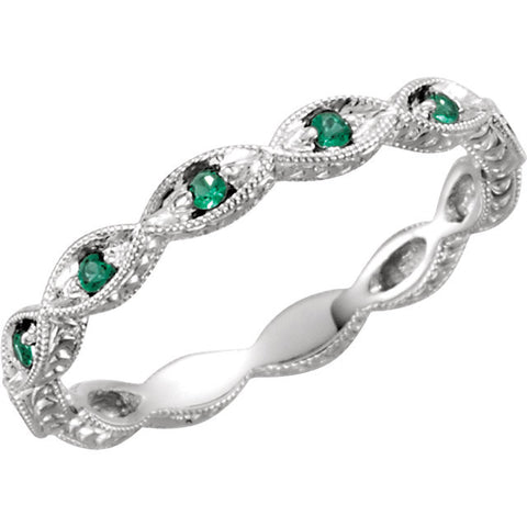 Emerald Gemstone Eternity Band - Sala - Moissanite Rings