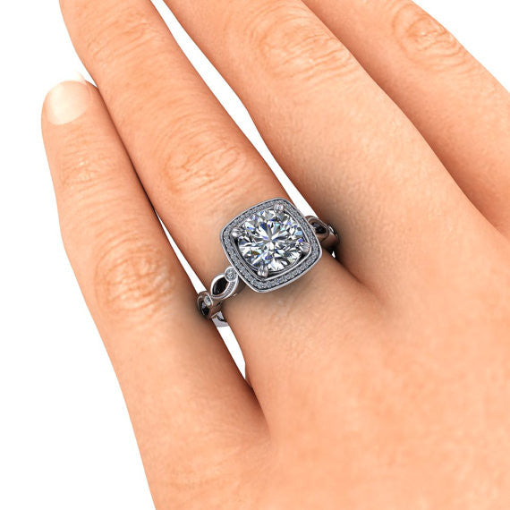 Square Halo 8 mm Moissanite Engagement Ring - Legendary - Moissanite Rings