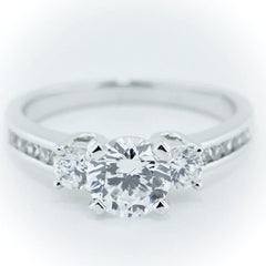 Three Stone Engagement Ring Channel Set Accents - Camille - Moissanite Rings