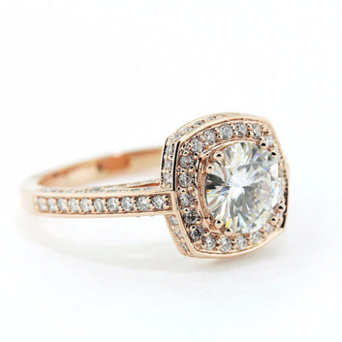 8 mm Rose Gold Diamond Halo Moissanite Engagement Ring - Cushion Halo - Moissanite Rings