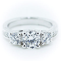 Three Stone Engagement Ring Moissanite Center and Side Stones Diamond Setting - Honestly - Moissanite Rings