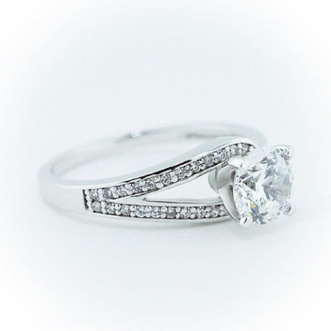 Diamond Accented Moissanite Engagement Ring - It's a Wrap - Moissanite Rings
