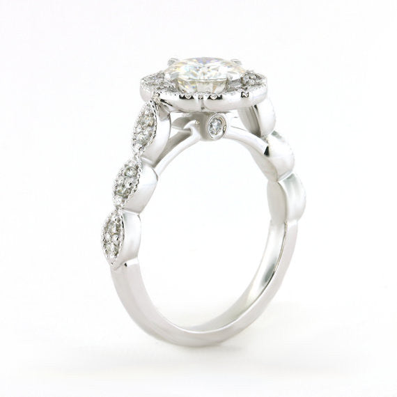 Final Payment 3 Vintage Style Moissanite Engagement Ring and Wedding Band - Maria with Sweet Bliss Band - Moissanite Rings