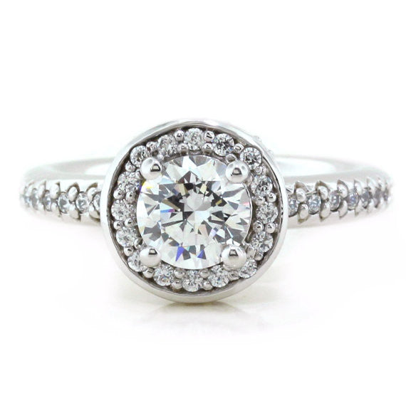 Diamond Halo Engagement Ring - Out of This World - Moissanite Rings