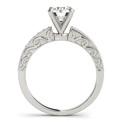 Carved Diamond Engagement Ring Setting Moissanite Center - Poca - Moissanite Rings