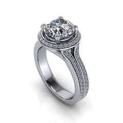 Diamond Halo 8 mm Moissanite Engagement Ring - Sunrise - Moissanite Rings