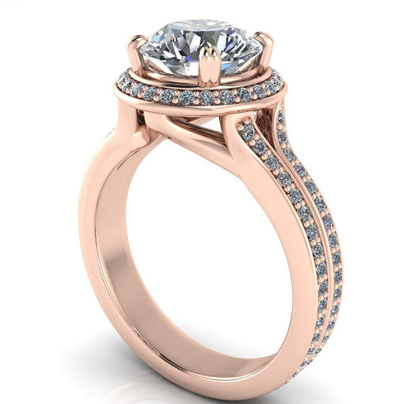Rose Gold Diamond Halo 8 mm Moissanite Engagement Ring - Sunrise - Moissanite Rings