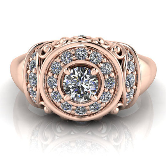Vintage Style Rose Gold Engagement Ring - The Quest - Moissanite Rings