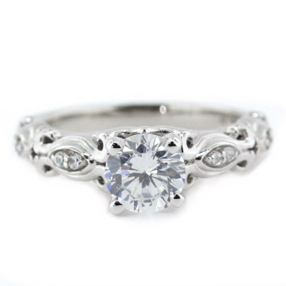 Top Diamond Accented Moissanite Engagement Ring Whimsical