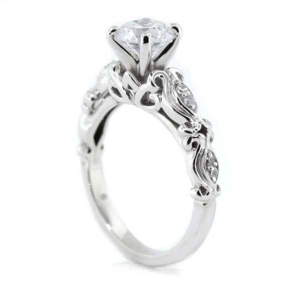 Diamond Accented Moissanite Engagement Ring - Whimsical - Moissanite Rings