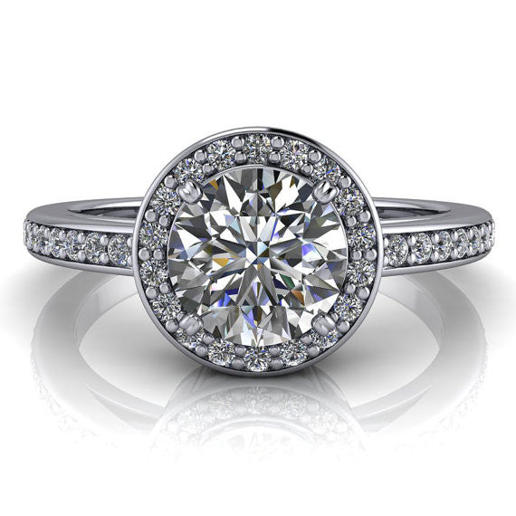 Diamond Halo Engagement Ring - Paris