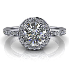 Diamond Halo Engagement Ring - Paris - Moissanite Rings