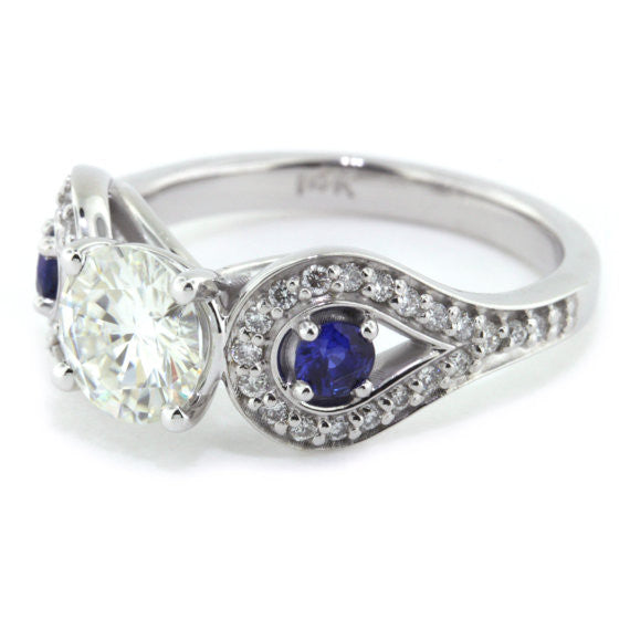 Blue Sapphire and Diamond Accented Moissanite Engagement Ring - Perfectly Paired - Moissanite Rings