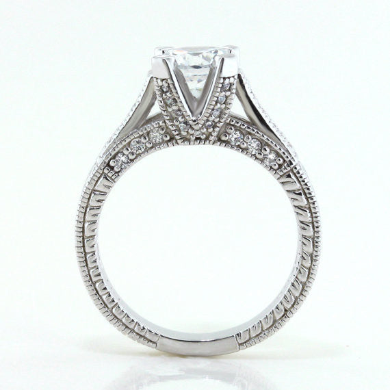 Engraved Engagement Ring - Royal Crown - Moissanite Rings