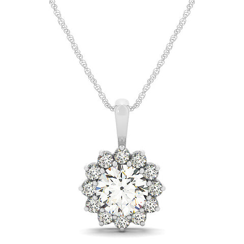 Diamond Halo Flower Pendant Moissanite Center - Moissanite Rings