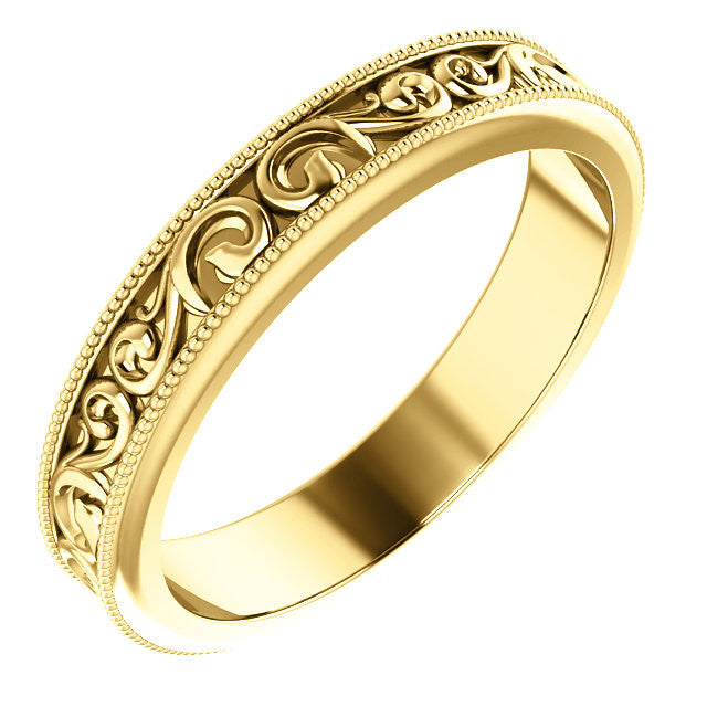 4 mm Carved Vintage Style Wedding Band - Moissanite Rings