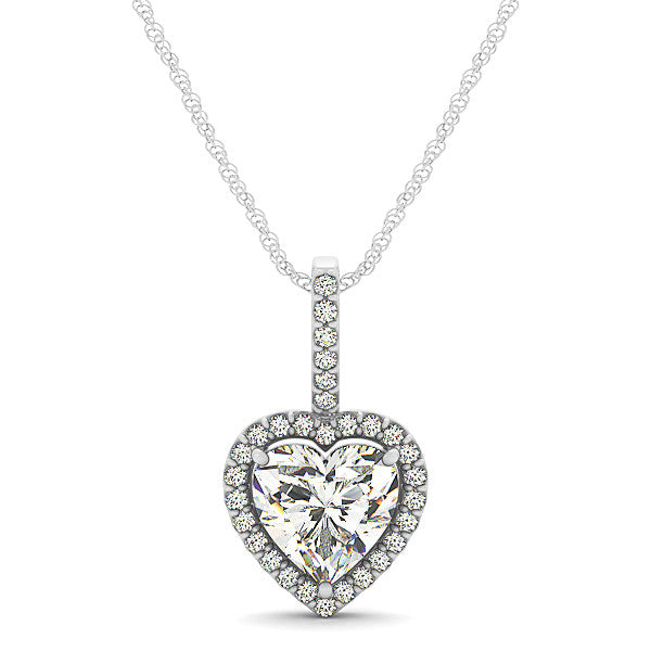 Diamond Halo Heart Shape Moissanite Pendant - Moissanite Rings