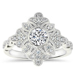 Vintage Halo Engagement Ring Moissanite and Diamond - Karen - Moissanite Rings