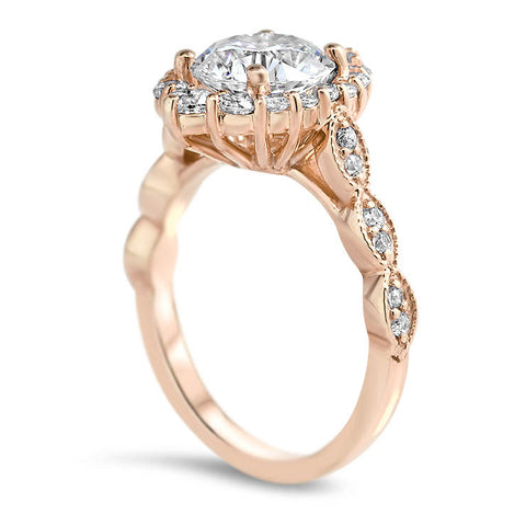 Elongated Diamond Halo Engagement Ring Vintage Style Band - Melissa II - Moissanite Rings