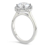 Elongated Diamond Halo Engagement Ring - Melissa - Moissanite Rings