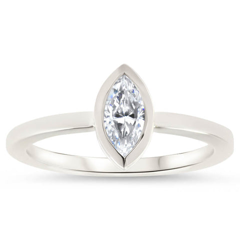 Bezel Set Marquise Cut Moissanite Engagement Ring - Navette - Moissanite Rings