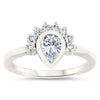 Pear Shape Halo Engagement Ring Moissanite Center Ring Diamond Setting Half Halo Bezel Set Ring -  Amelia - Moissanite Rings