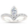 Diamond Chevron Halo Engagement Ring Marquise Center Stone Ring Moissanite Engagement - Aurora - Moissanite Rings