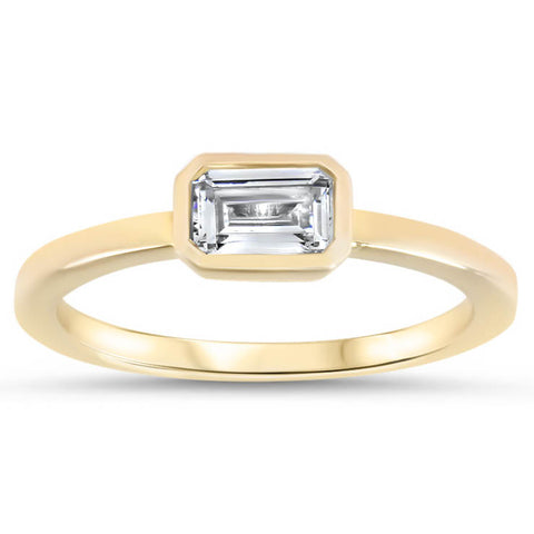 Unique Emerald Cut Engagement Ring Moissanite Ring - Ella