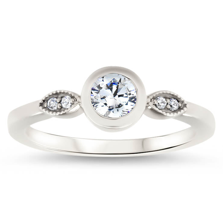 Bezel Set Moissanite Engagement Ring Diamond Setting - Emily - Moissanite Rings