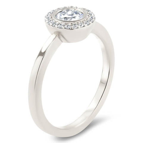 Round Diamond Halo Moissanite Engagement Ring Thin Band - Aria - Moissanite Rings