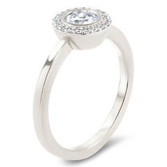 Round Diamond Halo Moissanite Engagement Ring Thin Band - Aria