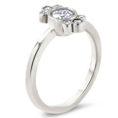 Bezel Set Diamond Halo Moissanite Engagement Ring - Eleanor - Moissanite Rings